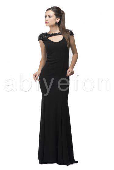 Omuzları Taşlı Sırt Dekolteli Siyah Uzun Abiye Elbise