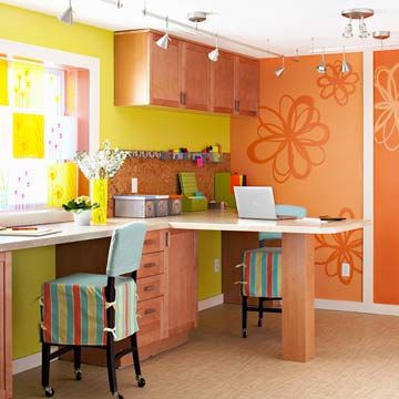 Crafts Room with Stations  Such an awesome craft room! I would def want this in my dream home, The bright and vibrant colors just beg for inspiration and ideas to get to work! There is plenty of space for when my craft time friend comes over, and plenty of lighting to focus on every little detail in the project!