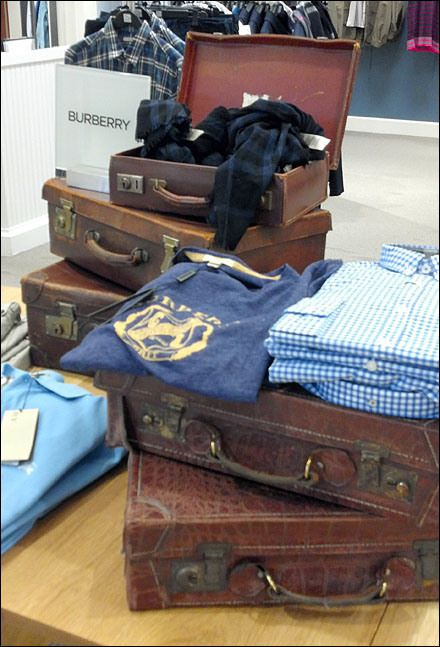 Burberry vs Fossil vs Vuitton Valise Visual Merchandising