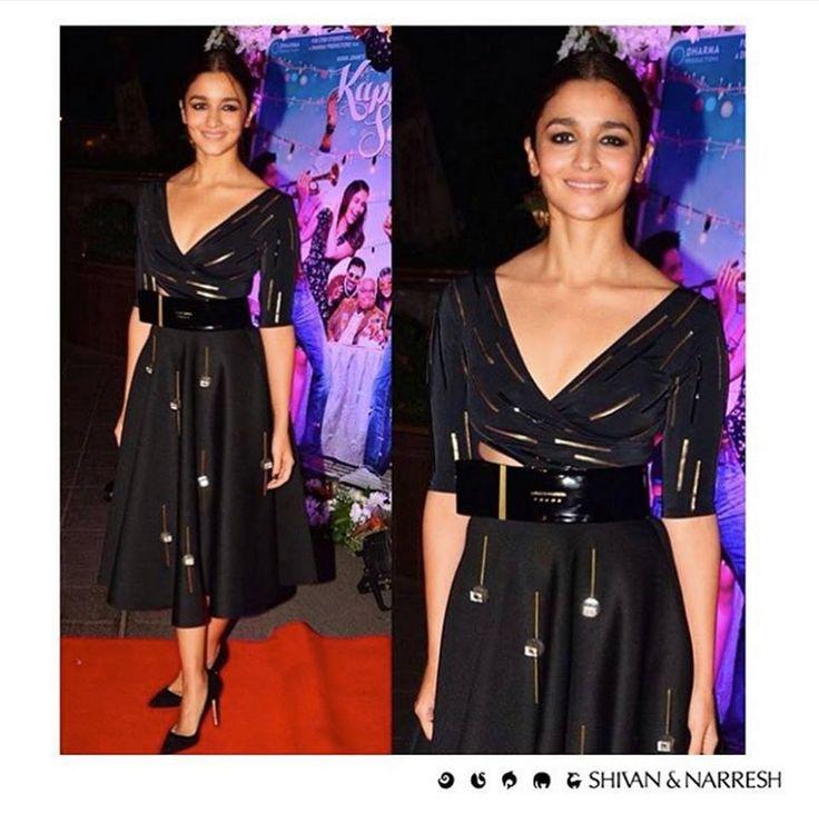 Alia Bhatt looking stunning in a straight off-the-runway look featuring a leather detailed & Swarovski embellished Dress from #LégerLeisure for #KapoorAndSons Success Party | #SwarovskiCrystals #ShivanAndNarresh #SwarovskiCouture #AliaBhatt #Bollywood #CelebStyle #CelebFashion #OffTheRunway #RampToRedCarpet #BlackDress