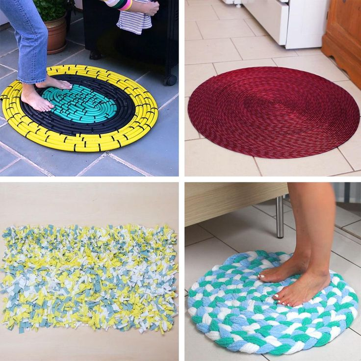 5 Ideas Para Hacer Tapetes - Rug making Crochet Video, Diy Crochet, Lace Painted Furniture, Home Crafts, Diy And Crafts, Ikea Dollhouse, Small Bedroom Organization, Ombre Paint, Finger Crochet