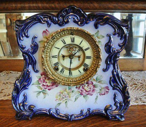 1800s Antique Porcelain Clock Ansonia Cobalt Blue Open Escapement Chiming