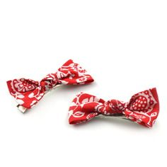 2 barrettes noeuds en liberty claire and emily rouge 5 cm