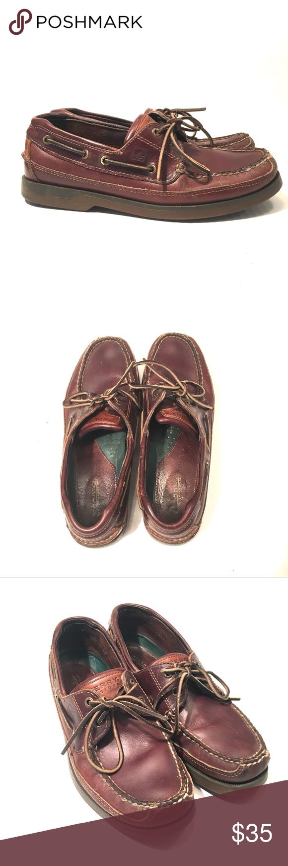 Sperry Top Sider Men Boat Shoes Brown Leather Two Eye Boat Shoes  Great pre Owned condition Buy with confidence  Size 9.5 Med Sperry Top-Sider Shoes Boat Shoes