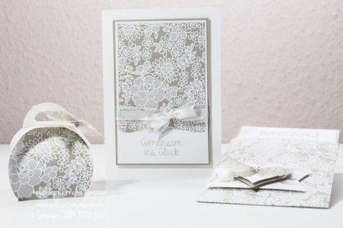 Nellis Stempeleien:  Perfekter Tag, Trau dich Designpapier von Stampin' UP! für Hochzeitskarten, Hochzeitseinladungen und Gästegoodies mit der Zierschachtel für Andenken.