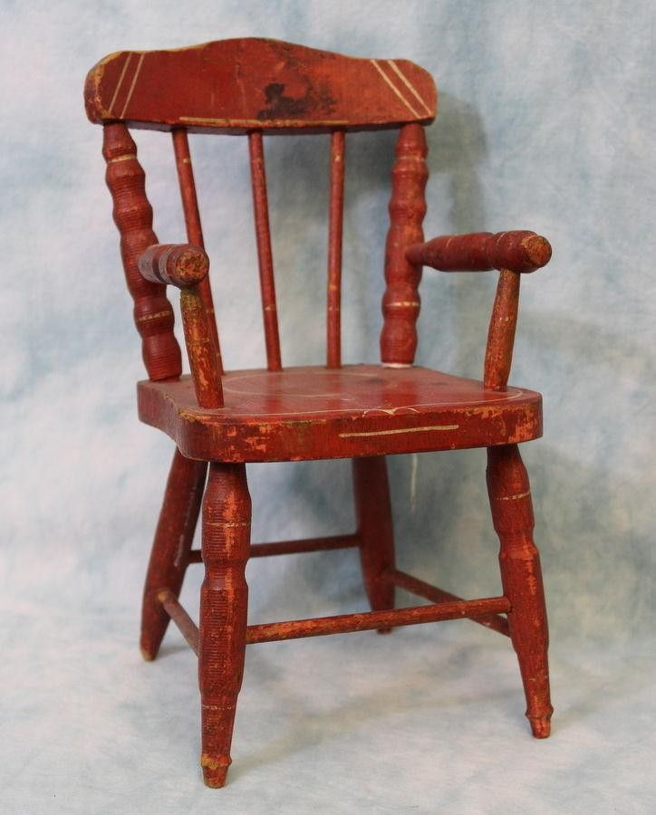 c.1900 Antique Miniature Doll Chair - C.1900 Antique Miniature Doll Chair Chairs For Wee Folk Or Dolls