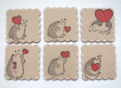 Lot de 6 tiquettes cadeaux coeur h risson en papier kraft - Herisson en papier ...