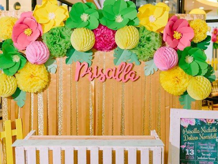 Tropically flamingo themed birthday party themed for Backdrop decoration for birthday