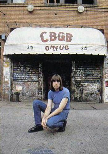 Johnny Ramone in front of CBGB's