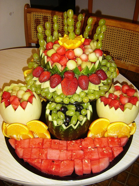 Fruit Centerpiece - I would do something different with the watermelon on the bottom.