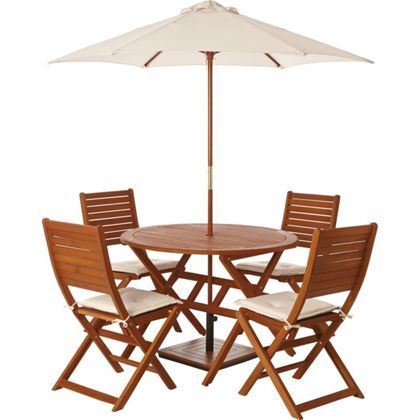 Peru 4 Seater Wooden Garden Furniture Set With Folding Chairs Morley Pint