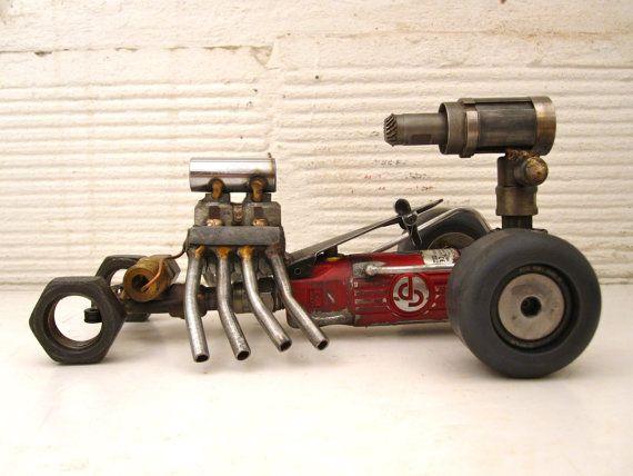 Race car made of scrap metal.