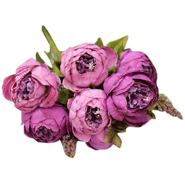 purple decorative flowers silk peony flower lavender bouquet 10 flower 11