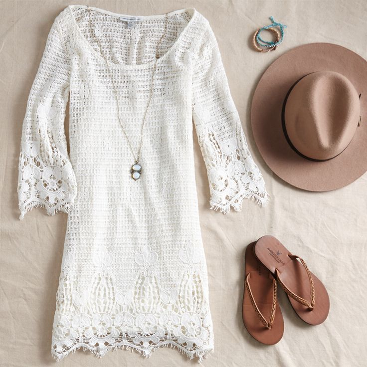 AEO Lace Shift Dress, Flip Flops and Wide Brim Hat for the perfect #AEOSTYLE.