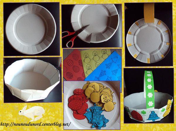panier de pâques fait avec des assiettes en papier