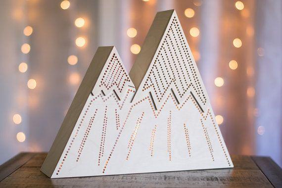 Mountain Night Light - Stripes - Kid's Lamp / Lantern - Wilderness / Nature / Woodland / Camping Theme Nightlight - Geometric Mountainrange
