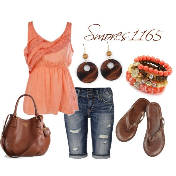 """""""Casual Coral & Brown"""" by smores1165 on Polyvore"""