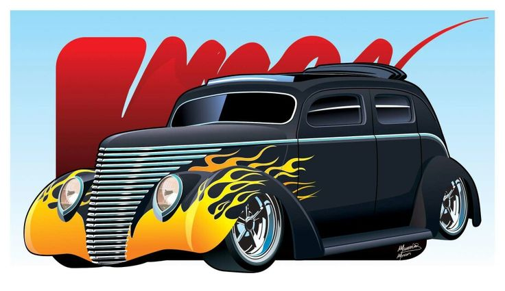 Render feito para a 84 Hot Rod do amigo Paulo Kise. Um belo Ford 37  Hot Rod com teto rebaixado e flames. #HotRod #desenhodeCarro #CaricaturadeCarro #Render #ProjetodeHot
