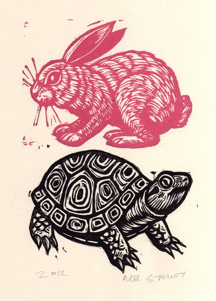 Tortoise and Hare Linocut. I have made my own linocut of this pair, but this one is prettier...