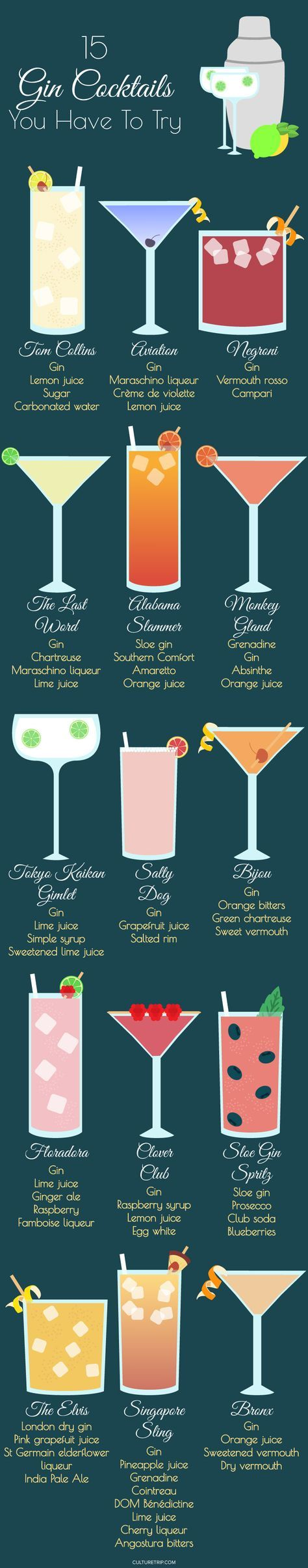 15 Incredible Cocktails to Make With Gin (Infographic) Pinterest: @theculturetrip