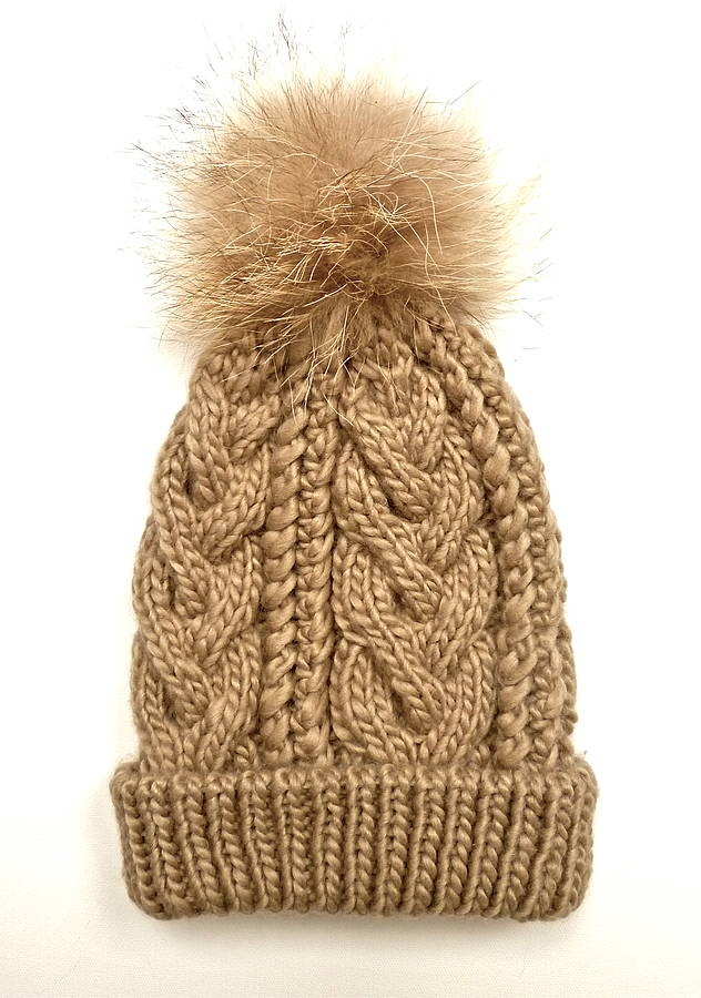 Cable Knit Bobble Hat Pattern : Taupe Cable Knit Fur Pom Pom Bobble Hat Fashion Pinterest Taupe, Cable ...
