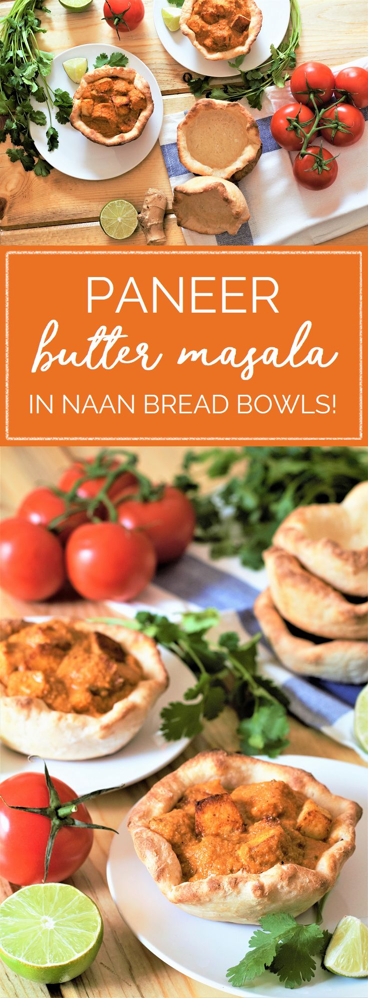 My favorite rich, creamy butter masala trades the usual chicken for fresh paneer cheese! Serve it up in a naan bread bowl for pure comfort food bliss. #buttermasala #curry #paneer #naan #indianfood | mountaincravings.com