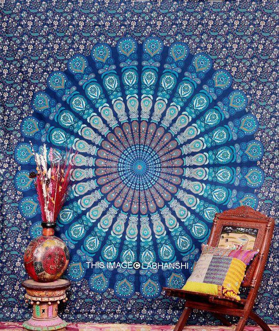Blauen indischen Mandala Wandbehang indische von Labhanshi auf Etsy