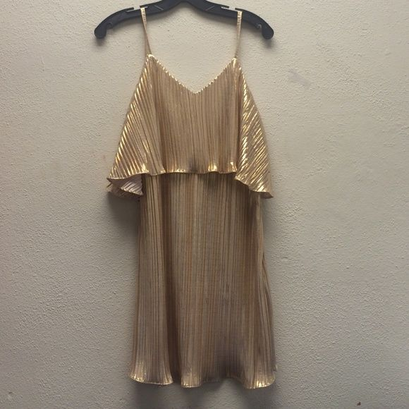 LuLu Gold metallic cocktail dress Deep v back. Can be worn down or backwards for more or less plunge. Awesome dress. Never worn. New with tags Lulu's Dresses Mini