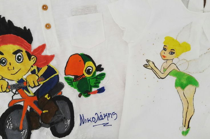 #jakeandtheneverlandpirates, #jake, #tinkerbell handpainted tshirt hand painted t shirt, cotton fabric, non-toxic, water based, permanent fabric colors