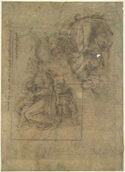 michelangelo drawing madonna and child 1525 - 421×581