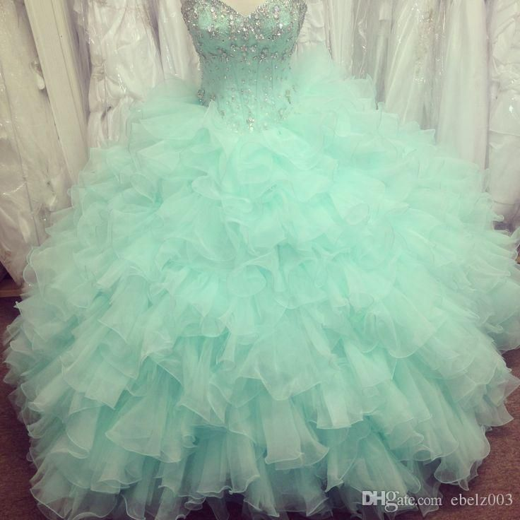 2015 Real Image Quinceanera Dresses With Sweetheart Beads Crystals Backless Ruffles Ball Gown Floor Length Organza Mint Green Prom Gowns Quinceanera 2015 Dresses Quinceanera Dress For Sale From Ebelz003, $156.79| Dhgate.Com