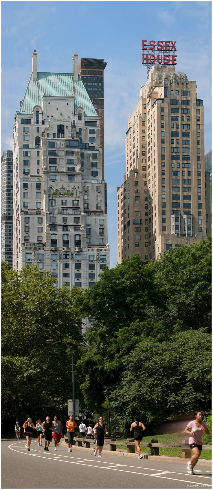 A view of Hampshire House, a co-op apartment building, and Essex House, a hotel, from Central Park. Both in Central Park South. NEW YORK CITY.