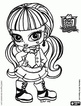 Baby Draculaura The Daughter Of Count Dracula Is A Vegetarian Vampire Coloring Page And