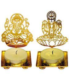 Buy Ganesh Laxmi Combo golden Machine Cutting Work Festive Diya with Wax diya online