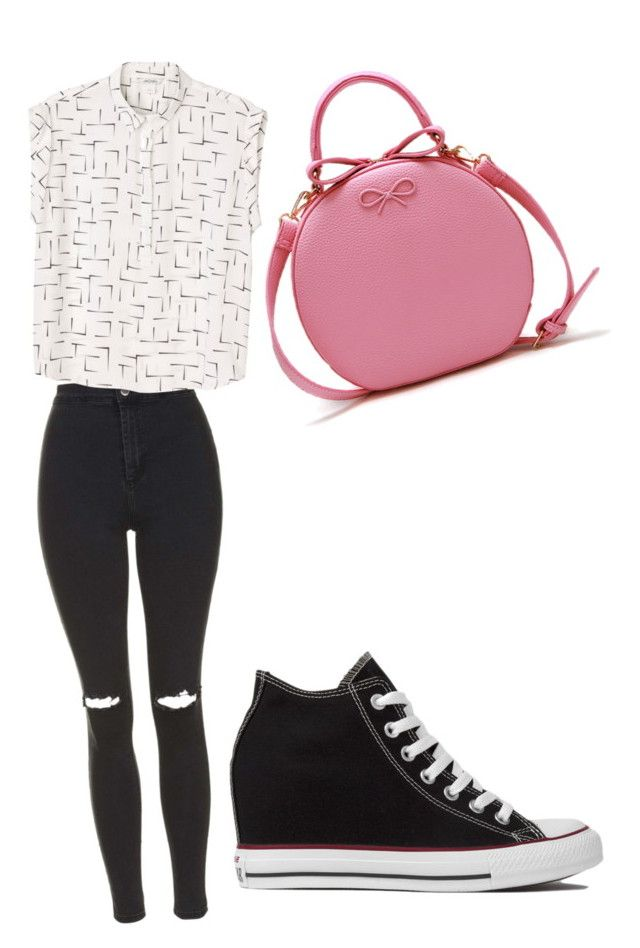 fιяѕт ∂αтє❤️ by lollypopmy on Polyvore featuring polyvore, Mode, style, Monki, Topshop and Converse