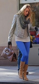 fall outfit: Fashion, Blue Legging, Style, Blake Lively, Blue Pants, Fall Outfit, Blakelively, Fall Winter, Gossip Girls