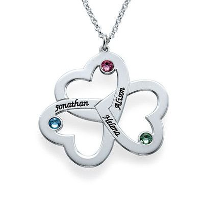 We have found the perfect gift for moms everywhere, the <b>Personalized Triple Heart Necklace</b>! You asked for a third heart on the <a href=./Product.aspx?p=2207>original double heart necklace design</a> and we have delivered! Now you can engrave up to three hearts, as well as choose a birthstone for each heart. Personalize each heart with any name or word you want! The sky is the limit! Even if you are not a mom, you will still love this necklace! Inscribe the things that make you think…