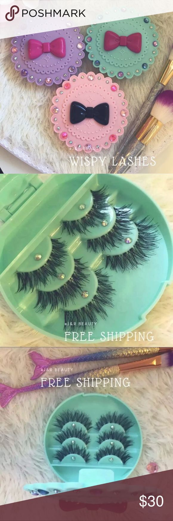 3 Eyelash Cases + 9 WSP Eyelashes All brand new include  ✅ 3 Eyelash Cases ( you can choose color ) ✅ 9 wispy Eyelashes   Great for a GIFT❤️✨ Each eyelash set wrapped separately with TLC❣️  Bundle deal⭐️  Usually $15 each⭐️ BUY 2 GET 1 FREE deal ⭐️  Add on eyelash applicator +$2 ❣️ Message me if you want to add them ✅ # tags Iconic, mink, red cherry eyelashes, house of lashes, doll, kawaii, case, full, natural, Demi , makeup, mascara, eyelash applicator, Mykonos Mink , Lashes , wispy…