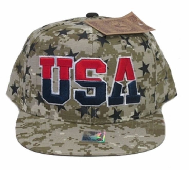 Digital Camo Embroidered USA Snapback cap-new