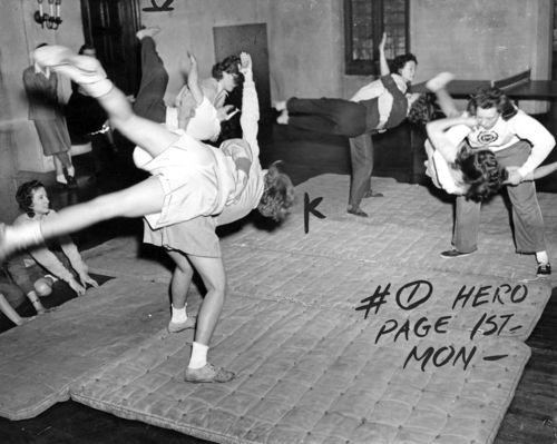 Girls at the University of Chicago learn Jiu-jitsu, 1943.