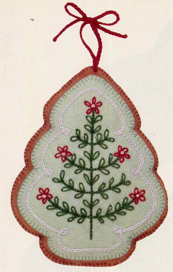Vintage frosted gingerbread embroidered felt cookie