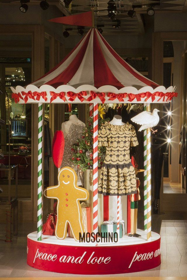 """Moschino boutique in Milan, Via Sant'Andrea 12 - December 2012 window display - Theme: """"Christmas carousel"""""""
