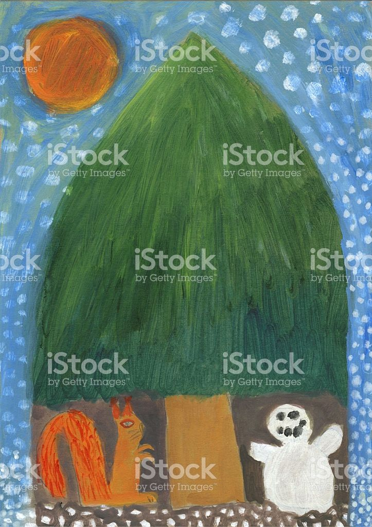 Snowman and squirrel under the christmas tree on snowy night royalty-free stock…