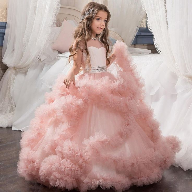 Girls Pageant Dresses Tulle Ruffle Clouds Ball Gown Girls Prom Dresses Round Neck Low Back Crystal Beadings Waistband Kids Gowns
