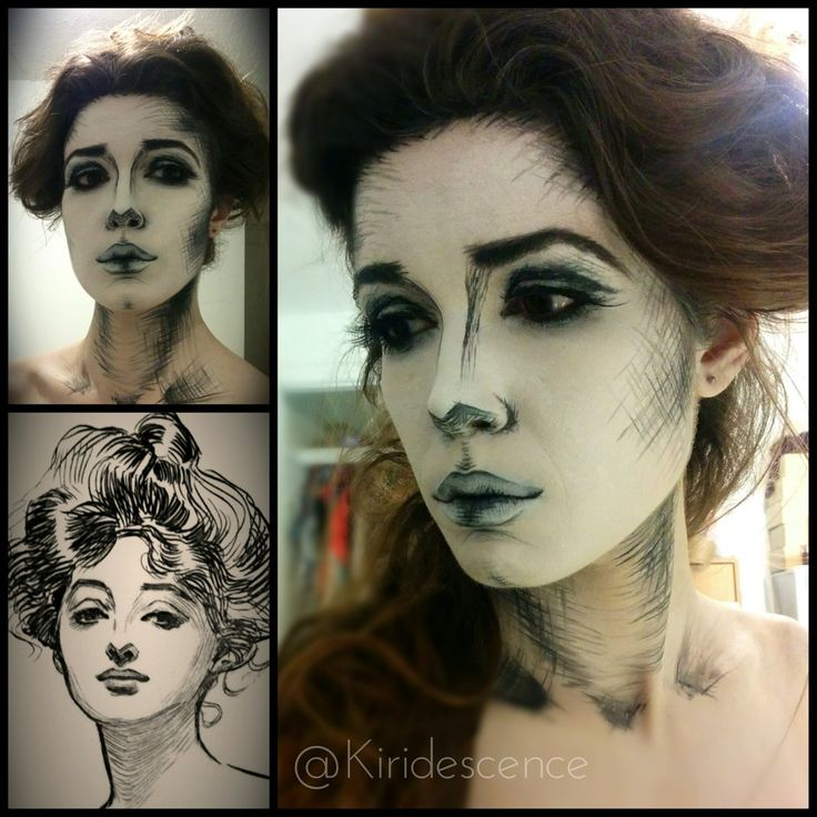 Halloween makeup: GIBSON GIRL DRAWING by Kiridescence. Tag your pics with #Halloween and #SephoraSelfie on Sephora's Beauty Board for a chance to be featured!