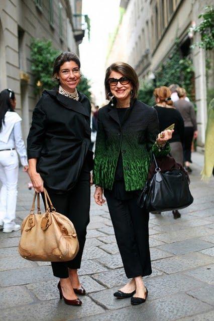 Costanza Pascolato (right) editor Vogue Brasil.