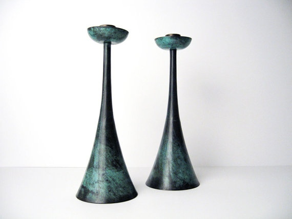 Rare PAL BELL Bronze Candle Holders Zohar  by ObjectOfBeauty, $225.00