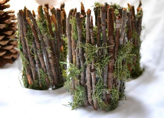 Rustic Twig Candle Holders - Woodsy Weddings, Home Decor, Gift Item (Set of 3) on Etsy, $18.00