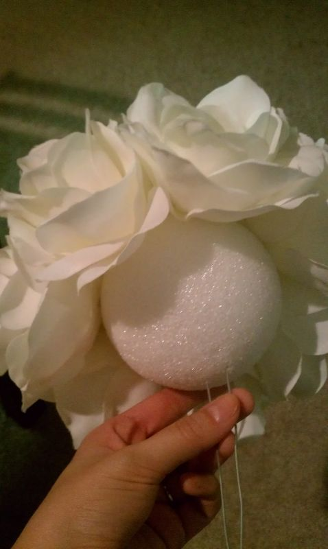 DIY Silk Rose Pomander Centerpiece :  wedding centerpiece kissing ball pomander IMAG0380                                                                                                                                                                                 More