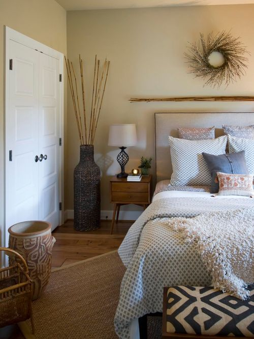 Inspiration For A Transitional Guest Medium Tone Wood Floor Bedroom Remodel  In Portland With Beige Walls